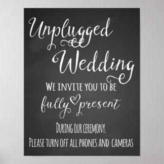 Chalkboard Unplugged Wedding Print poster