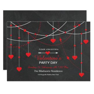 Chalkboard Valentine's Day Party Invitation Card