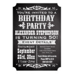 Chalkboard Vintage Blackboard Theme Birthday Party Custom Invites