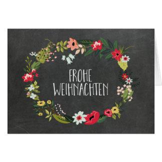Chalkboard Vintage Floral German Christmas Card