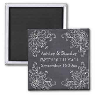 Chalkboard, vintage flourish wedding Save the Date Magnet