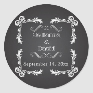 Chalkboard & vintage frame wedding Save the Date Classic Round Sticker