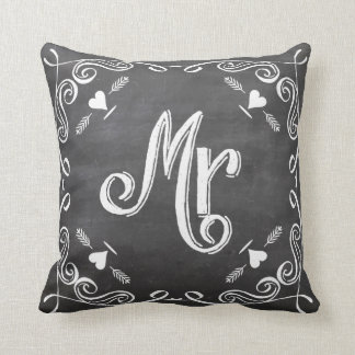 Chalkboard Vintage Modern Mr Groom Pillow