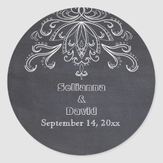Chalkboard vintage rustic wedding Save the Date Classic Round Sticker