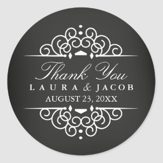 Chalkboard Vintage Scroll Wedding Sticker