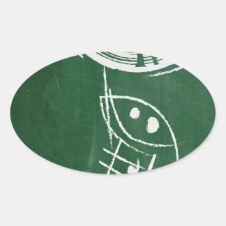 Chalkboard Vinyl Record Cartton Oval Sticker