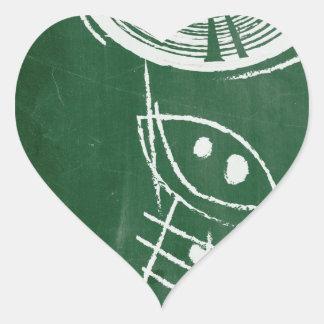 Chalkboard Vinyl Record Cartton Heart Sticker