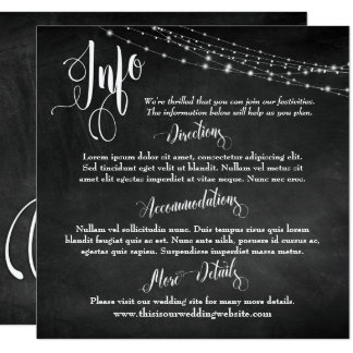 Chalkboard w/ Light Strings, Wedding Info Script Card