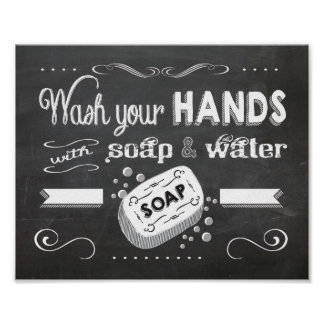 Chalkboard Wash your hands poster