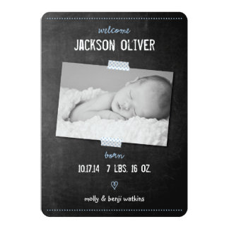 Chalkboard Washi Tape Birth Announcement