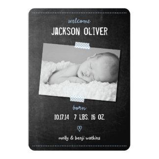 Chalkboard Washi Tape Birth Announcement
