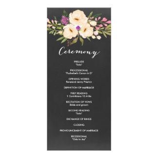 Chalkboard Watercolor Anemones Wedding Program