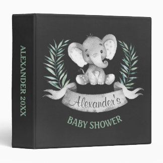 Chalkboard Watercolor Elephant Baby Shower Binder