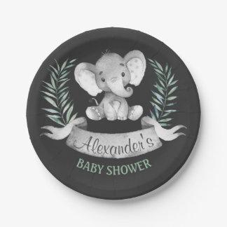 Chalkboard Watercolor Elephant Baby Shower Paper Plate