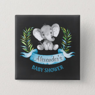 Chalkboard Watercolor Elephant Boy Baby Shower 2 Inch Square Button