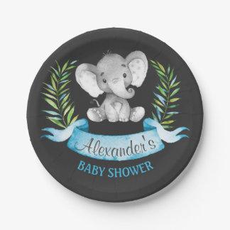 Chalkboard Watercolor Elephant Boy Baby Shower Paper Plate