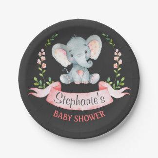 Chalkboard Watercolor Elephant Girl Baby Shower Paper Plate