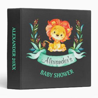 Chalkboard Watercolor Lion Baby Shower 3 Ring Binder