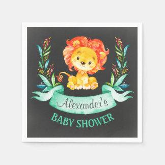 Chalkboard Watercolor Lion Baby Shower Paper Napkin