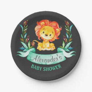 Chalkboard Watercolor Lion Baby Shower Paper Plate