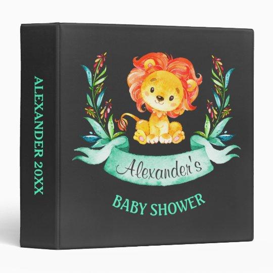 Chalkboard Watercolor Lion Baby Shower Vinyl Binders
