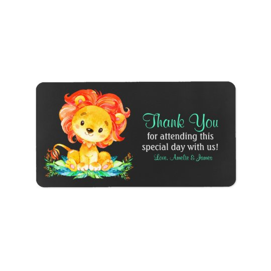 Chalkboard Watercolor Lion Thank You Label