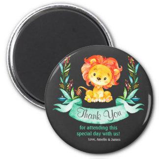 Chalkboard Watercolor Lion Thank You Magnet