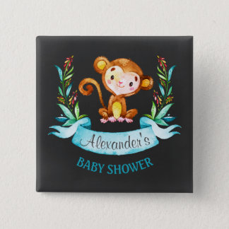 Chalkboard Watercolor Monkey Boy Baby Shower 2 Inch Square Button