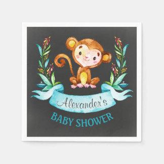 Chalkboard Watercolor Monkey Boy Baby Shower Disposable Napkin