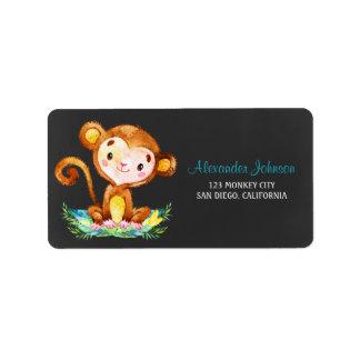 Chalkboard Watercolor Monkey Boy Label