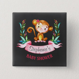 Chalkboard Watercolor Monkey Girl Baby Shower 2 Inch Square Button