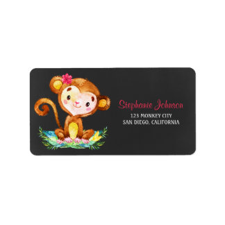 Chalkboard Watercolor Monkey Girl Label