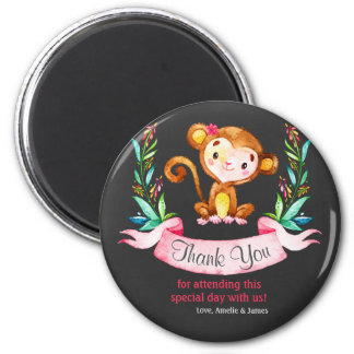 Chalkboard Watercolor Monkey Girl Thank You 2 Inch Round Magnet