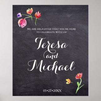 Chalkboard Watercolour Flower Paint, Wedding Sign