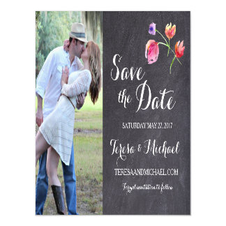 Chalkboard Watercolour Flower Save the date magnet Magnetic Invitations