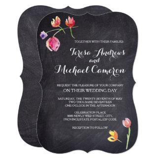 Chalkboard Watercolour Flower Wedding Invitations