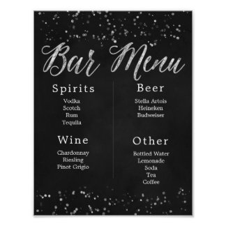 Chalkboard Wedding Bar Menu Poster