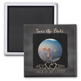 Chalkboard Wedding | Custom Photo Save the Date Square Magnet