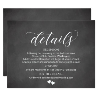 Chalkboard Wedding Details Card Enclosure Card