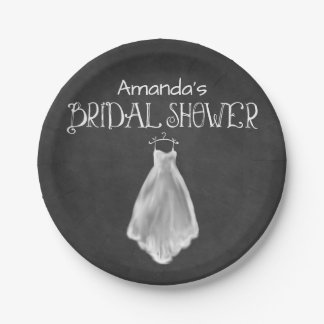 Chalkboard Wedding Dress Bridal Shower Plates 7 Inch Paper Plate