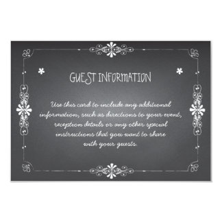 "Chalkboard Wedding Guest Information Insert Card 3.5"" X 5"" Invitation Card"