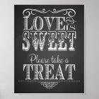 Chalkboard Wedding Love is sweet Print