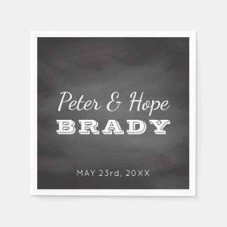 Chalkboard Wedding Monogram | Black and White Napkin