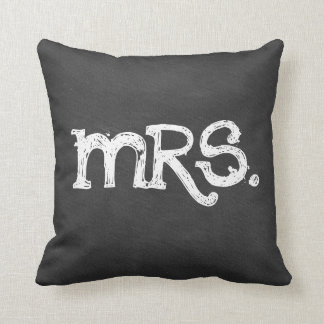 Chalkboard Wedding Mrs. Woman Throw Pillow