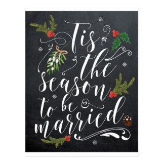 chalkboard wedding postcard tis the season