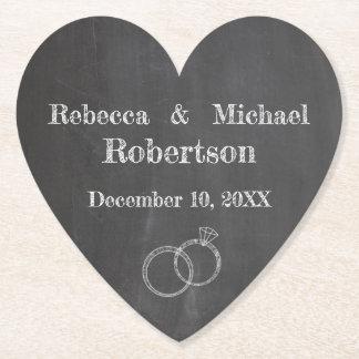 Chalkboard Wedding Rings Personalized Paper Coaster