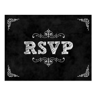 Chalkboard wedding rsvp card / eat drink married