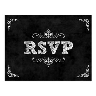 Chalkboard wedding rsvp card / eat drink married postcard