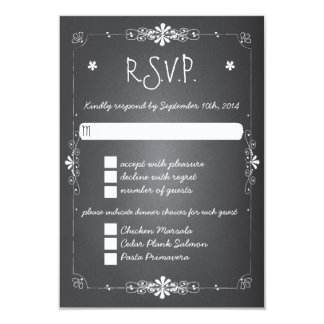 Chalkboard Wedding RSVP Response Card w Dinner