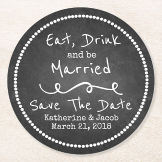 Chalkboard Wedding Save the Date Paper Coaster